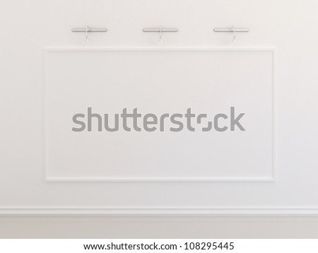 Big blank picture frame on white