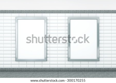 Big Blank Vertical Posters on Metro Station. 3d rendering - stock photo