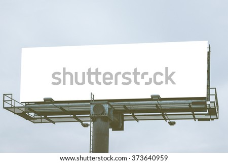 big Blank white billboard Ready for product display montage advertisement. - stock photo