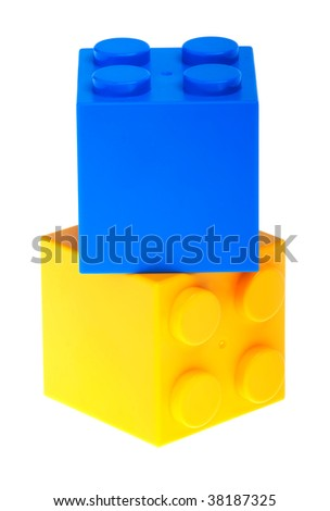 big  blocks isolated on white - stock photo