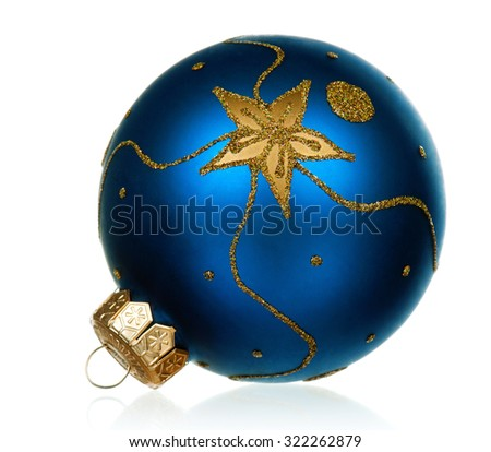 Big blue bauble for christmas firtree on white background  - stock photo