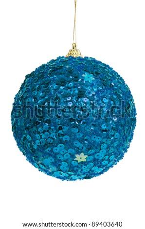 Big blue Christmas ball decoration isolated on white background. - stock photo