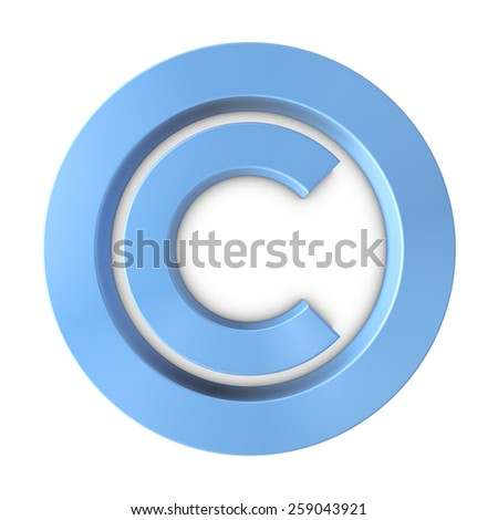 Big Blue Copyright Symbol, 3D Illustration - stock photo