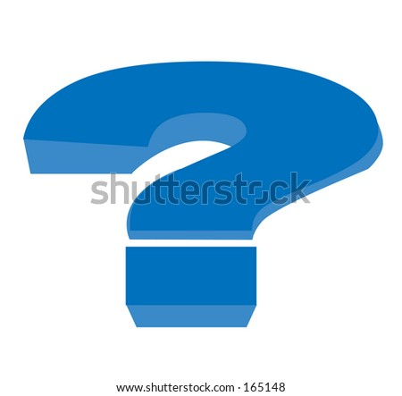 Big Blue illustrated question mark. - stock photo