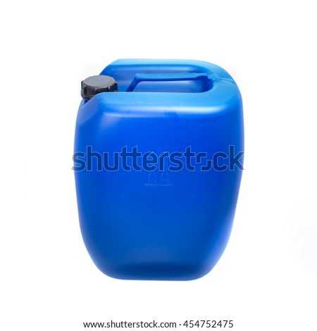 Big blue plastic canister, container; isolated on white background  - stock photo