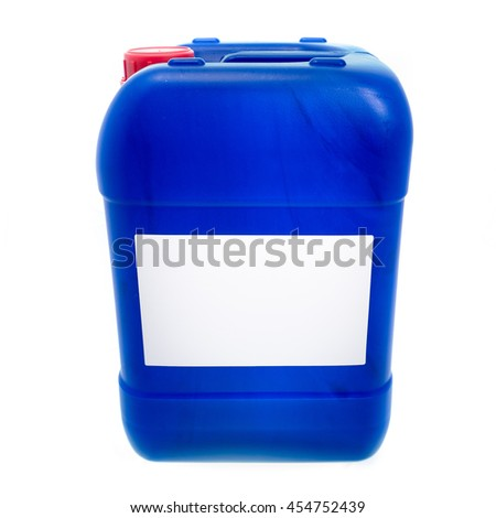 Big blue plastic canister, container with label; your text here; isolated on white background  - stock photo