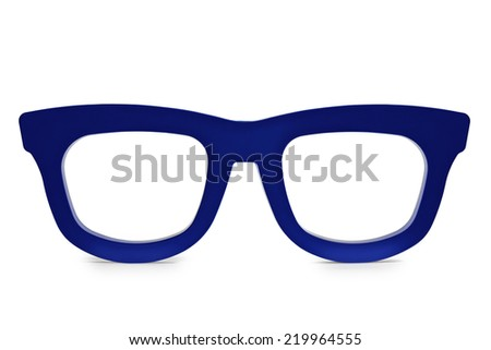 Big blue spectacle frame  - stock photo
