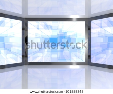 Big Blue TV Monitors Wall Mounted Representing High Definition Televisions Or HDTV - stock photo