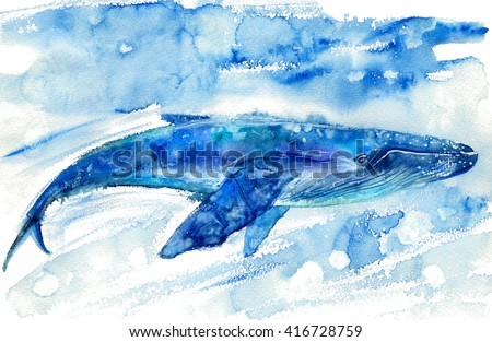 Big Blue Whale and water.Watercolor hand drawn illustration. Realistic underwater animal art. - stock photo