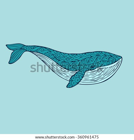 Big blue whale on a blue water background. An adult whale painted by hand in the art of different strokes, curls. Whale zentangle style. The sad whale. Most sea, ocean fish, mammals.