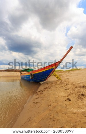 Big boat for transport on khong river - stock photo