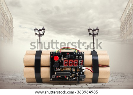 big bomb with timer on the street in town - stock photo