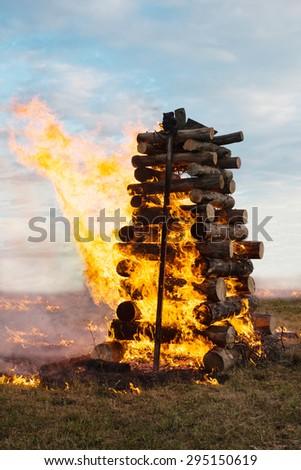 Big bonfire in a white summer night - stock photo