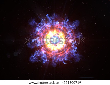 Big Boom in Deep Space - stock photo