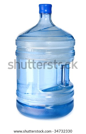 Big bottle for cooler. Isolated on white background. - stock photo