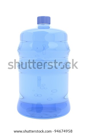 Big bottle of mineral water isolated on white - stock photo