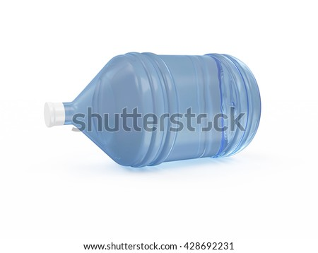 Big Bottle of Water isolated on white background. 3D Rendering - stock photo