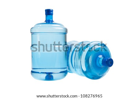 big bottles of water for delivery, isolated on white - stock photo