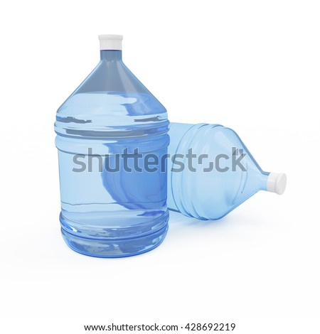 Big Bottles of Water isolated on white background. 3D Rendering - stock photo