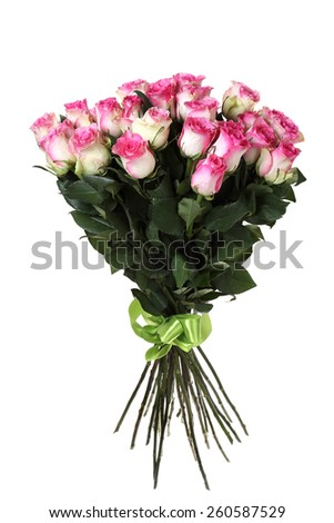 big bouquet of pink roses. It is isolated on a white background.