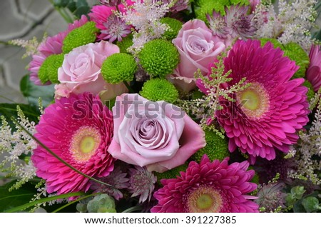Big bouquet with pink gerberas and roses - stock photo