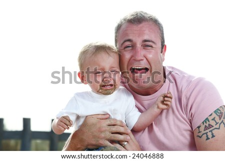 big boys do cry! - young father and his baby son crying together - stock photo