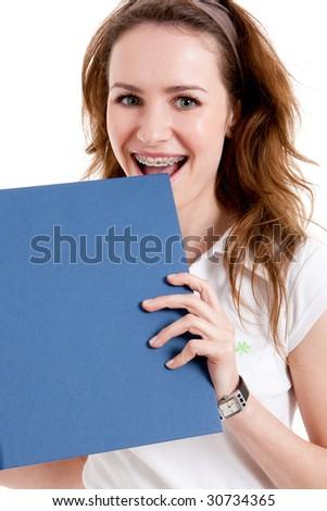 Big braces smile - stock photo