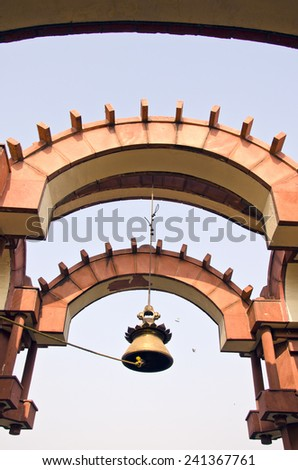 big brass bell in asian temple - stock photo