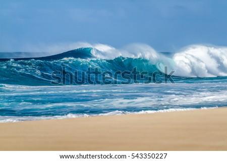 Big Breaking Ocean Wave On Sandy Stock Photo 543350227