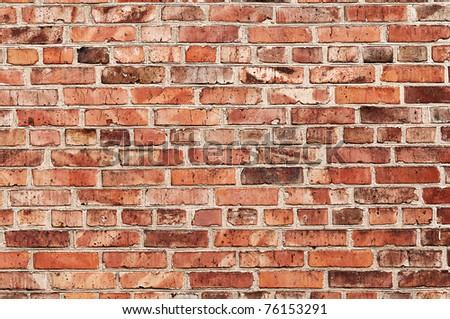big brick wall of the old red brick - stock photo