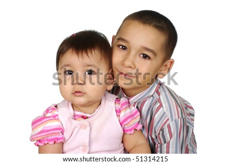 Big brother and little sister together, isolated on white background - stock photo