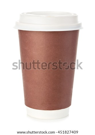 Big brown cup of coffee close-up isolated on a white background. - stock photo