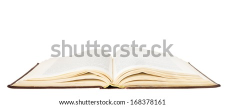 big brown open book isolated on white background