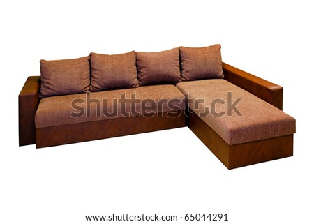 Big Brown Sofa Isolated Included Clipping Path