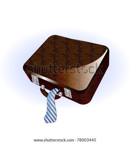 big brown suitcase - stock photo