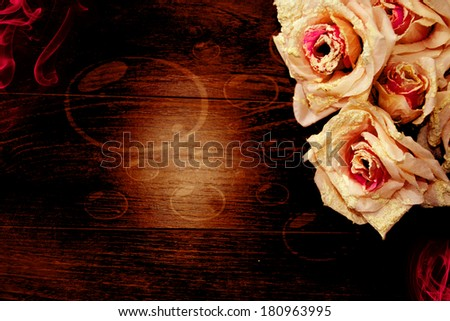 Big Brown wood plank wall texture background flowers  - stock photo