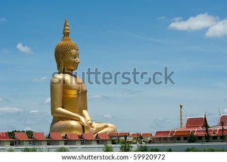 Big Buddha at Muang temple, Angthong, Thailand - stock photo