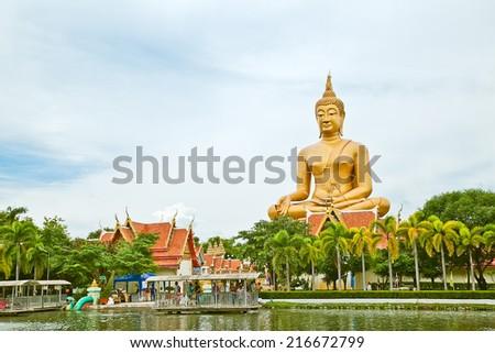 Big buddha at Singburi Thailand - stock photo