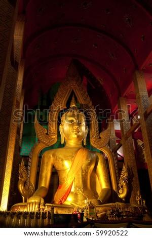 Big Buddha at Tonson temple, Angthong, Thailand - stock photo