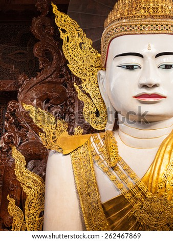Big Buddha in Ngahtatkyi Pagoda Temple in Yangon, Myanmar (Burma) They are public domain or treasure of Buddhism.  - stock photo