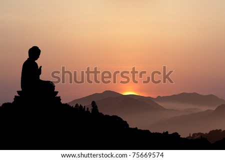 Big Buddha Ngong Ping Lantau Island at sunset - stock photo