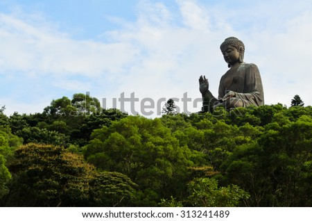 Big Buddha statue at Ngon Ping, Hong Kong - stock photo