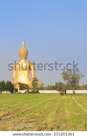 Big Buddha  statue at Wat Muang in Angthong, Thailand - stock photo