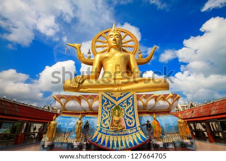 big buddha statue on koh samui, thailand - stock photo