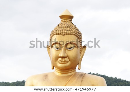 big buddha statue with nature background, blurred and soft focus