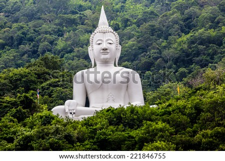 Big Buddha white color, at Wat Thep Phitak Punnaram temple in the mountain and forest,  Korat, Thailand - stock photo