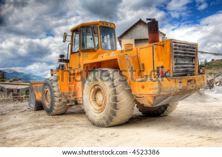 Big bulldozer at construction yard
