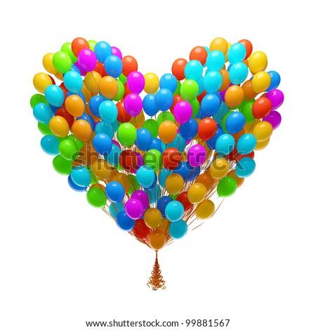big bunch balloons heart shape stock illustration 99881567
