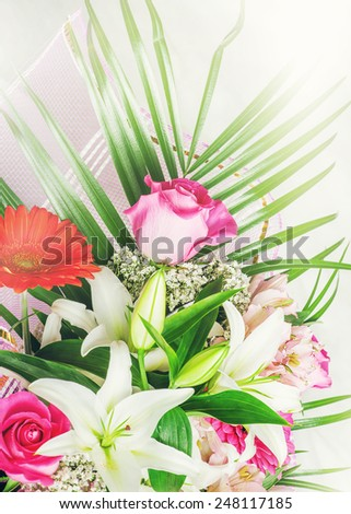 Big bunch of beautiful bright flowers, multicolored floral background for valentines day - stock photo