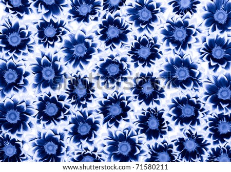 Big bunch of blue Chrysanthemums - stock photo